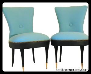 Slipper chairs - a pair    Coppia poltroncine da camera