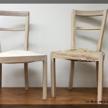 Coppia sedie sbiancate - A pair