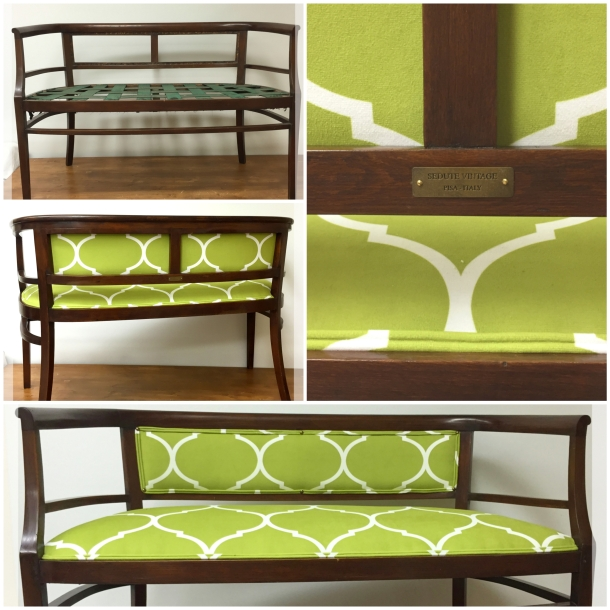 Divanetto a pozzetto verde lime - Lime green small settee