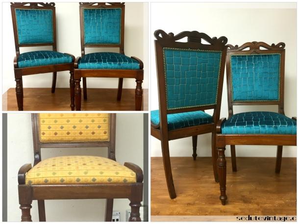 Coppia tasselli di velluto - Velvet side chairs, a pair