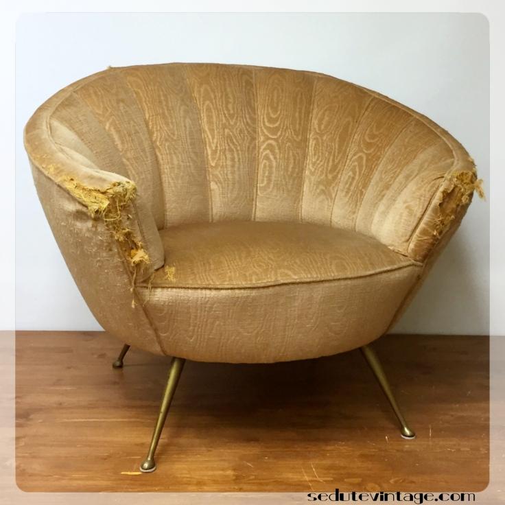 anni 40: due poltrone e divanetto - 1940s set of 2 armchairs and sofa